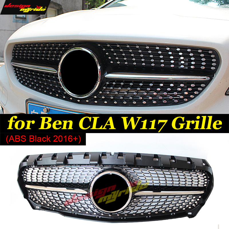CLA Class W117 Diamond Front grille Sports ABS Black Fits For MercedesMB W117 CLA200 CLA250 CLA180
