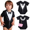 Macacão de bebê menino roupas 2016 de algodão preto nova chegada bonito Romper macacão cavalheiro roupas 3 6 9 12 18 M
