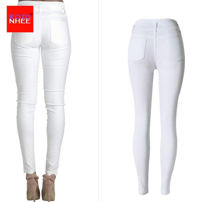 Սպիտակ ձգվող ջինսե բարձր իրանով ազդրի - Կանացի հագուստ - Լուսանկար 3