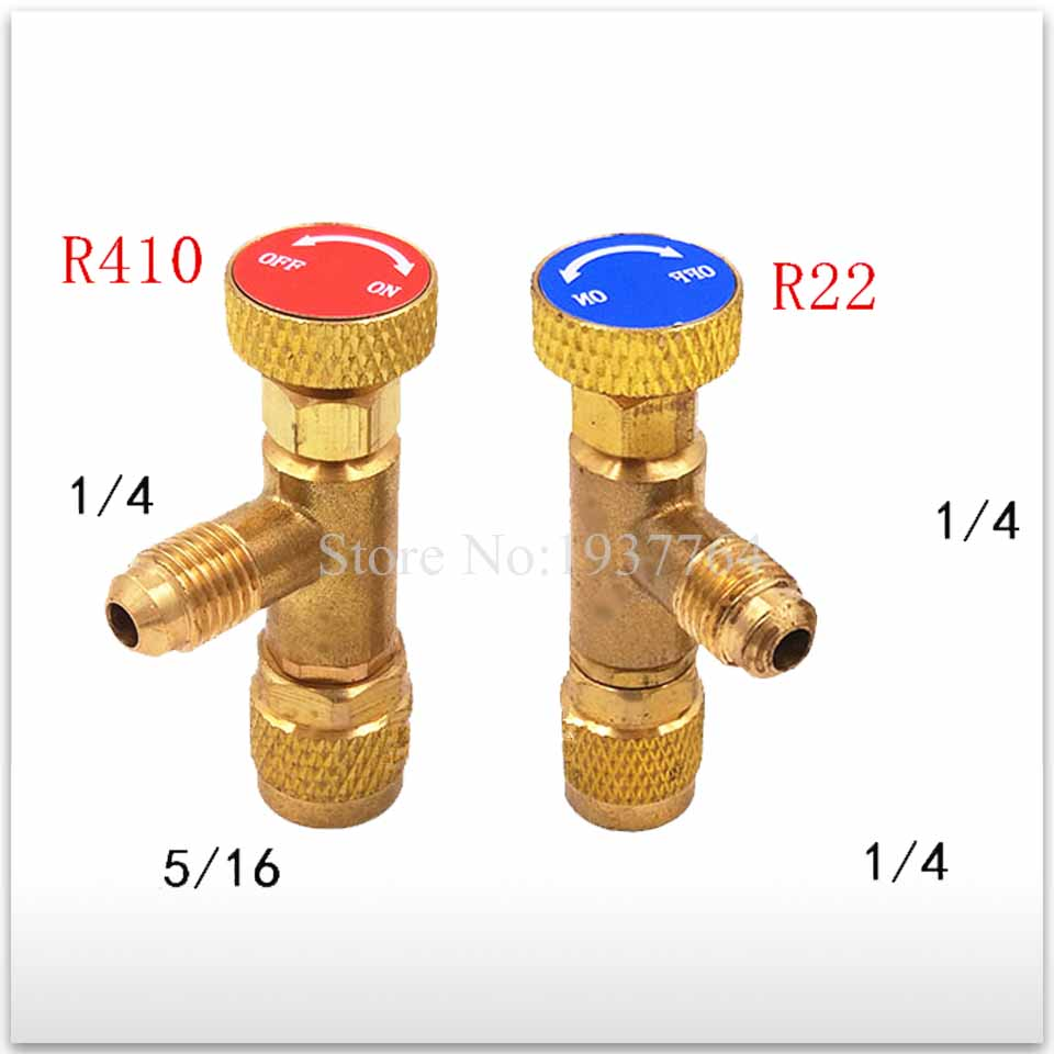 2pcs/set new for Air conditioning fluorine Refrigeration Air conditioning Valve Safety Adapter R22 R410 hs 1221 hs 1222 r410a refrigeration charging adapter refrigerant retention control valve air conditioning charging valve