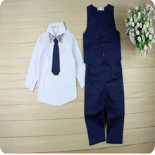 Hot Selling Formal Gentleman Costume Kids Baby Boys Suit Tops Shirt Waistcoat Tie Pants Children Outfits 4PCS Cool Set Clothes