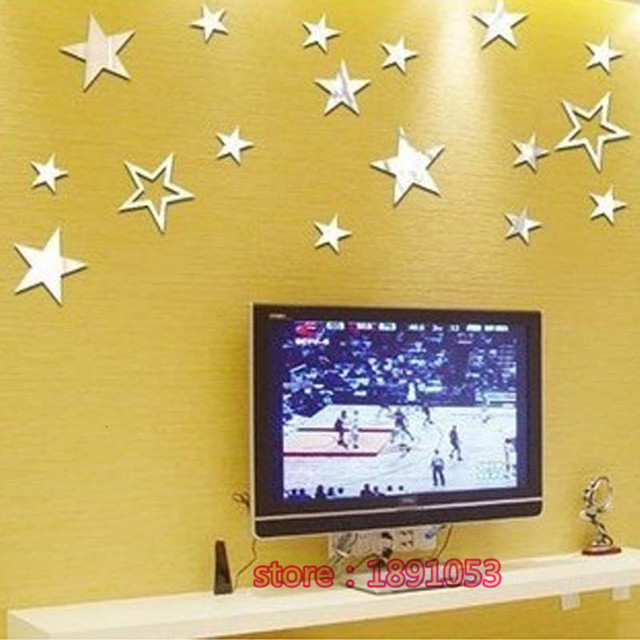3D Acrylic crystal star ceiling wall stickers living room bedroom ...