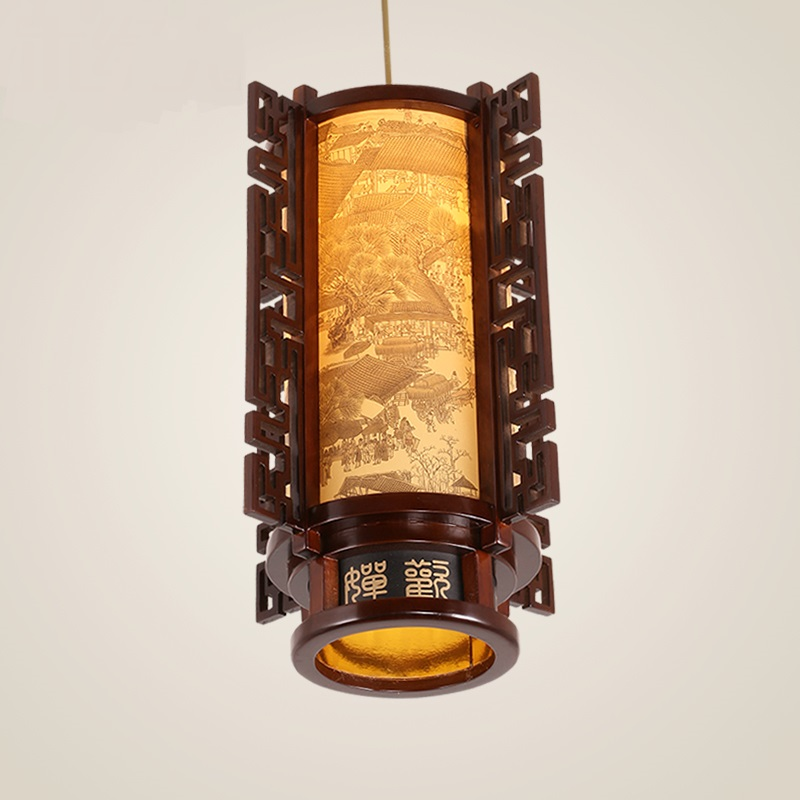 New Chinese style single Pendant Lights classical lantern solid wood carved restaurant dining room study hall corridor LU808148