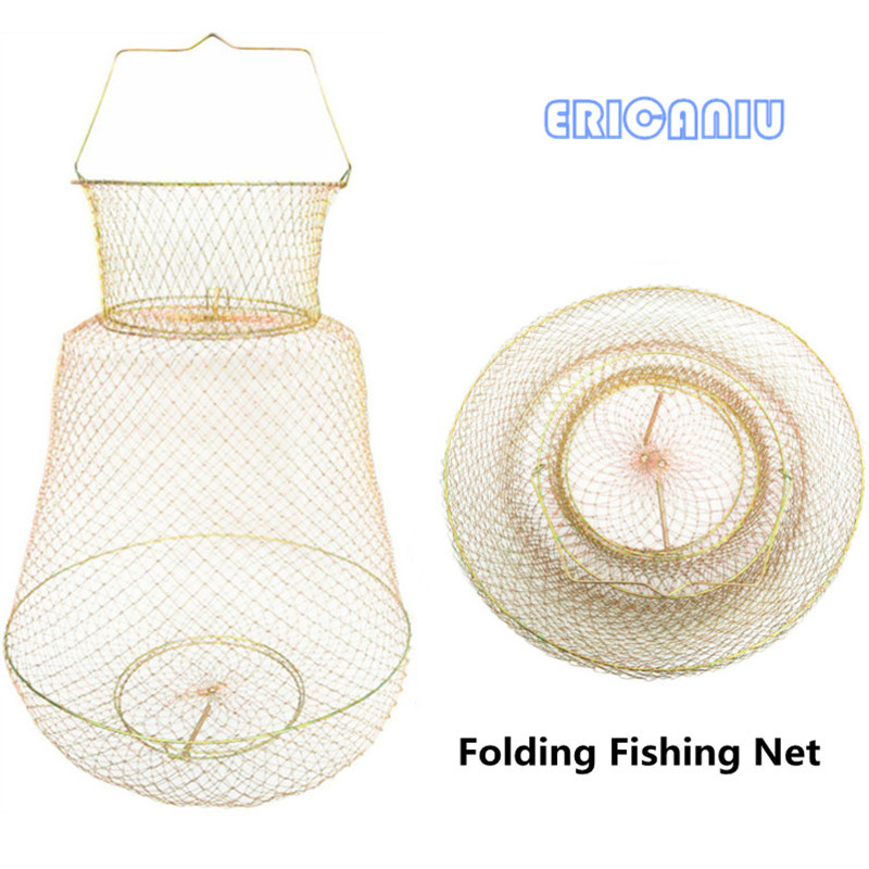 Folding Fishing Net stainless steel Crab net outlets Collapsible  steel wire creel Export quality wire fish net fishing hook 113 quality gill net h5m l100m 3layer 5cm mesh sink net fish trap sticky fishing net outdoor red de pesca reservoir fishing network