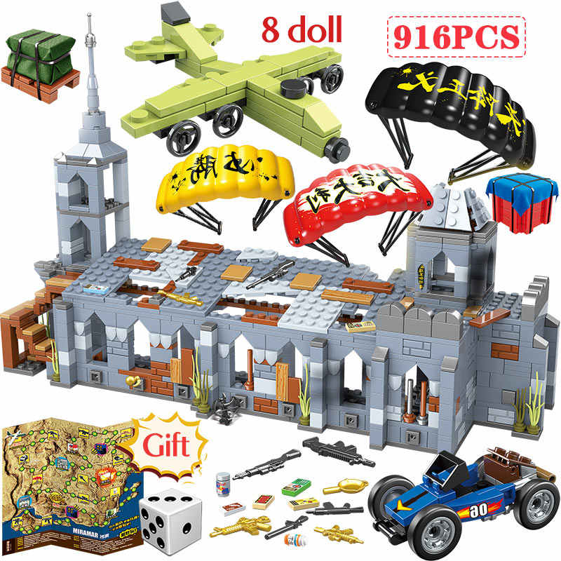 916PCS Chapel Fighting Battlegrounds Blocks legoingly Army Military City Police Weapon PUBG Building Blocks Kids Toys for Boys