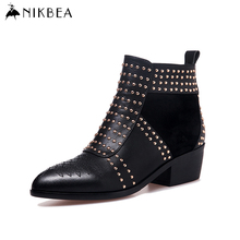 2016 Nikbea Black Ankle Boots Large Size Genuine Leather Boots Women Pointed Toe Rivet Punk Boots Ladies Booties Chunky Heel New