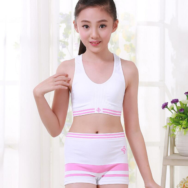 1f5a35536c5 2017 New Girls Underwear Set Cosy Undies Puberty Teenagers Student Sport Set  Pretty Children Nylon Training Bras Vest Boxer-8060