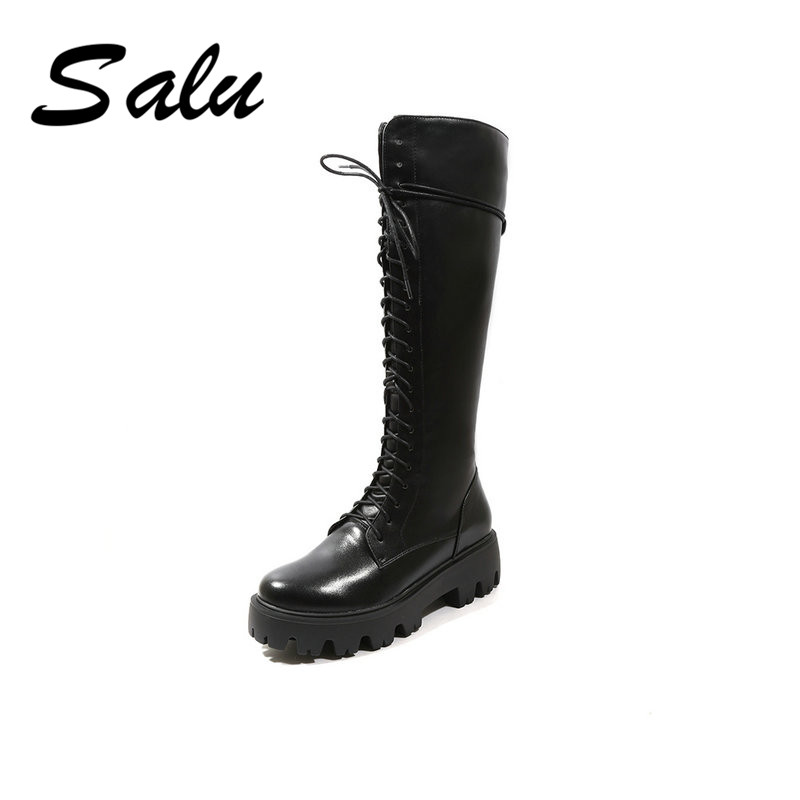 Salu knee-high Boots Women Winter Genuine Leather round Toe Thick High heel Metal Boots Zipper Plush Lining Ladies Shoe basic 2018 women thick heel ankle boots black pu fleeces round toe work shoe red heel winter spring lady super high heel boots