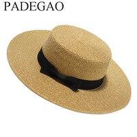 Women Summer Flat Sun Hat 2017 New Gold Straw Hat With Bow Wide Brim Beach