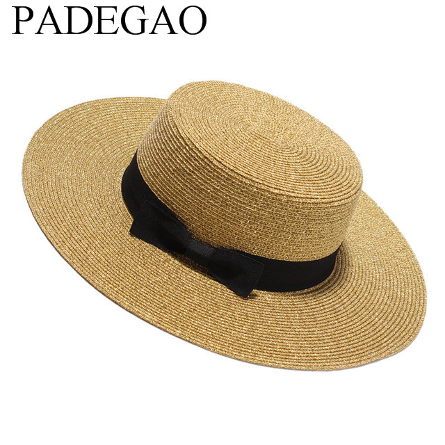 eb3b965da19d1 Women Summer Flat Sun Hat 2017 New Gold Straw Hat With Bow Wide Brim Beach  Caps Sombreros Mujer Verano