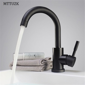 MTTUZK Black and white color 304 stainless steel Paint bathroom basin mixer tap sink rotatable basin faucet kitchen mixer