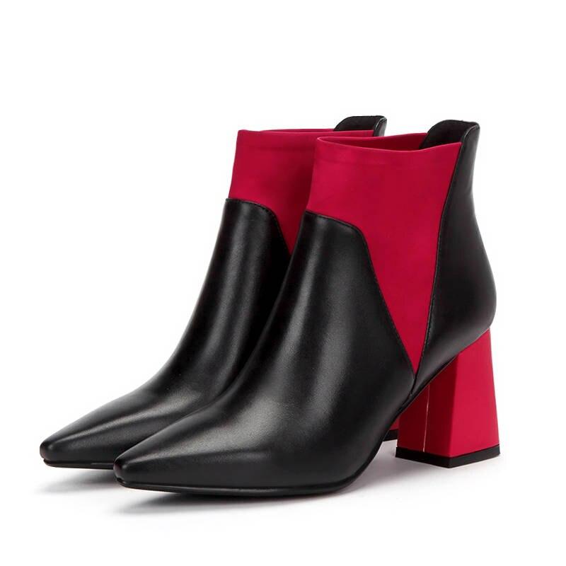 MORAZORA 2020 new arrival ข้อเท้ารองเท้าบู๊ทหนังแท้สีผสมแฟชั่นรองเท้ารองเท้าส้นสูงรองเท้าฤดูใบไม้ร่วงหญิง-ใน รองเท้าบูทหุ้มข้อ จาก รองเท้า บน   2
