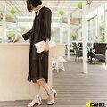 2017 Новые Женщин Дешевые Летние Легкие Твердые Шифон Плащ Дамы Путешествия Повседневный Длинным Пиджаки Плащ Clothing