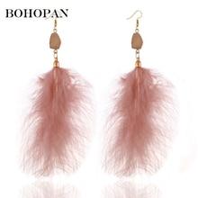 Large Feather Dangle Earrings Fashion Jewelry 4 Color Exotic Drop Earrings Long Tassel Feather Earrings Women Charm oorbellen feather design drop earrings 2pairs