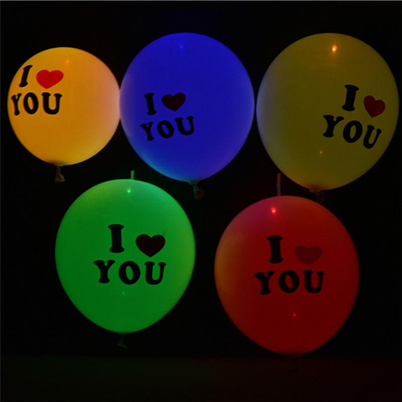 5pcs 12inch LED Colorful Flashing Luminous Glowing Letter Print Balloons Birthday Party Decor Weeding Decoration Globos Toys