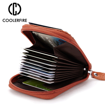 Women Business Card Holder Cow Leather Card Wallet  Credit Card Holder Case Wallet Box Mini Antimagnet Prevent Male Men  PJ034 men women leather credit card holder case card holder wallet business card female wallet purse luxury clutch wallets