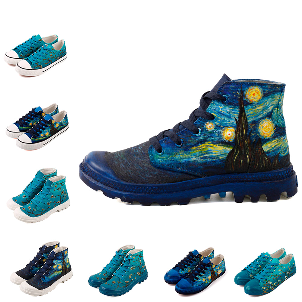 12 Kinds Hand Painted Famous Artwork Canvas Shoes Starry Night And the Almond Tree Painting Casual Flat Unisex Shoes Espadrille