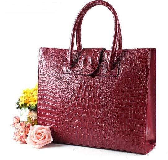Luxury Handbags Top-Handle Bags For Women 2018 Ladies Genuine Leather Bag Female Crocodile Handbag Large Tote Bag Briefcase B014