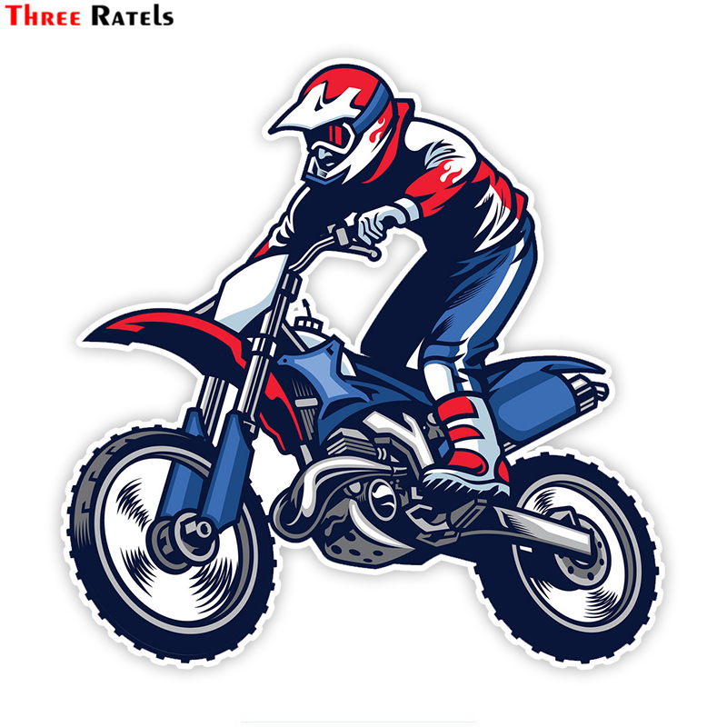 Three Ratels LCS030# 15x15cm Motocross Ride The Bike Colorful Car Sticker Funny Car Stickers Styling Removable Decal