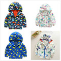 2016 Cartoon Animals Graffiti Boys Girls Spring Baby Jackets Softshell Windbreaker Kids Clothes Coat&Outerwear Hooded 2-6 Years