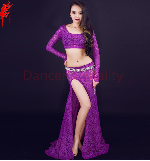 55ccd79f26ef NEW belly dance clothes women lace long sleeves top+skirt 2pcs belly ...