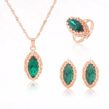 MINHIN Gold Color Long Chain Necklace Blue Synthetic Crystal Pendant Jewelry Women's Luxury 3 Pieces Wedding Jewelry Set