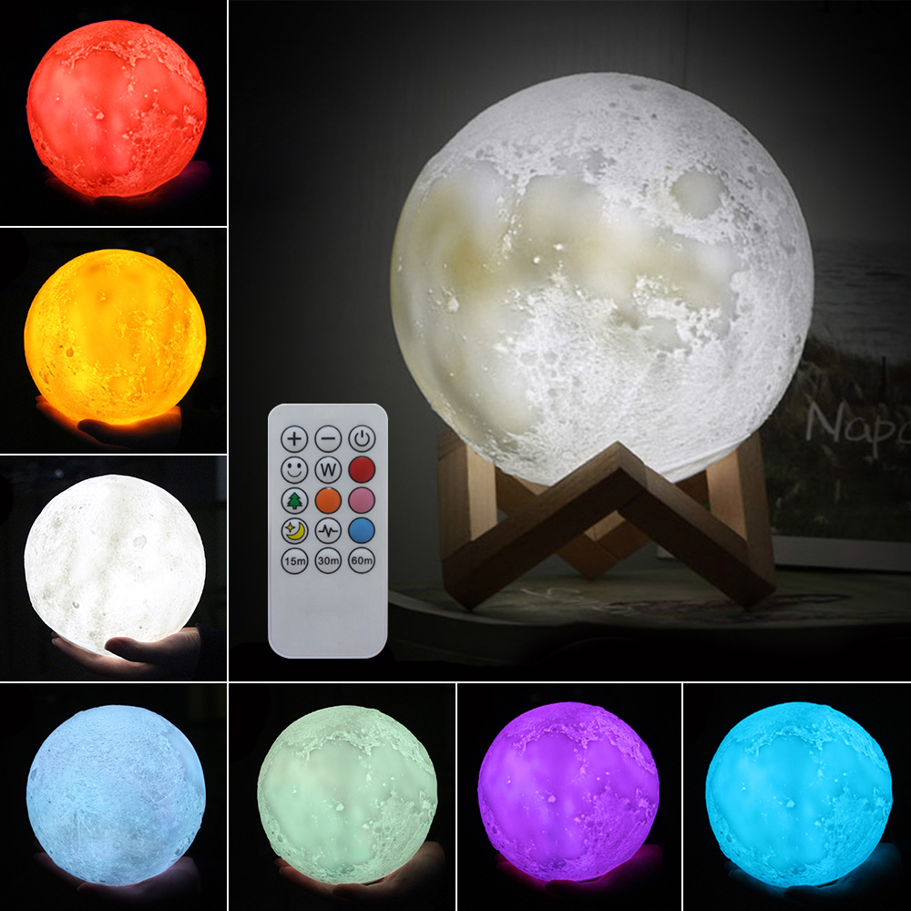 3D Print Moon Lamp Rechargeable Night Light 7 Color Change Touch Switch Bedroom Bookcase Nightlight Home Decor Creative Gift usbrechargeable 3d print moon lamp yellow red change touch switch bedroom bookcase night light home decor creative birthday gift