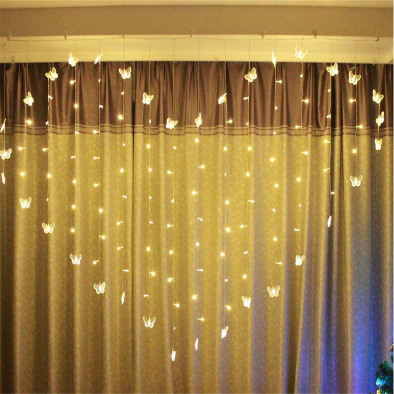 2M*1.5M Novelty Butterfly LED String Lights Curtain Wedding Hotel Valentine's Day Holiday Lightings Luces Home And Garden Lights