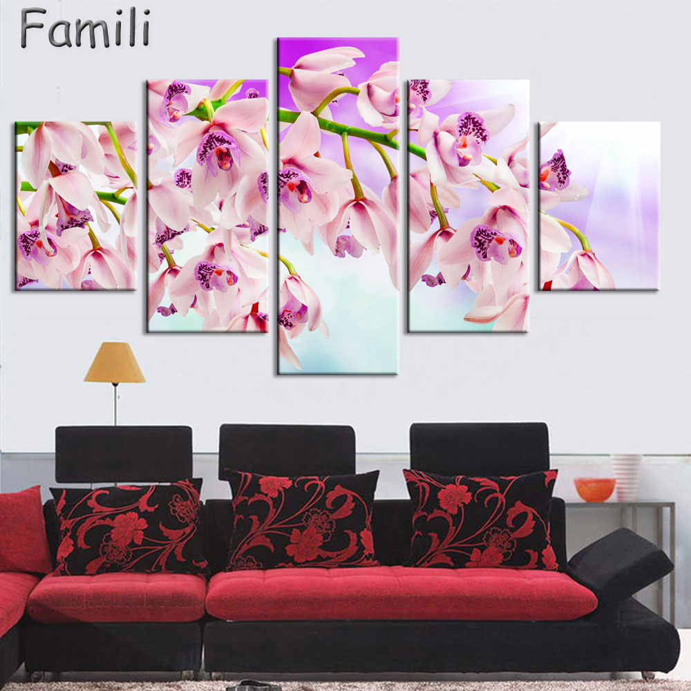 Print poster canvas Wall Art orchids Decoration art oil painting Modular pictures on the wall sitting room cuadros(no frame)5pcs