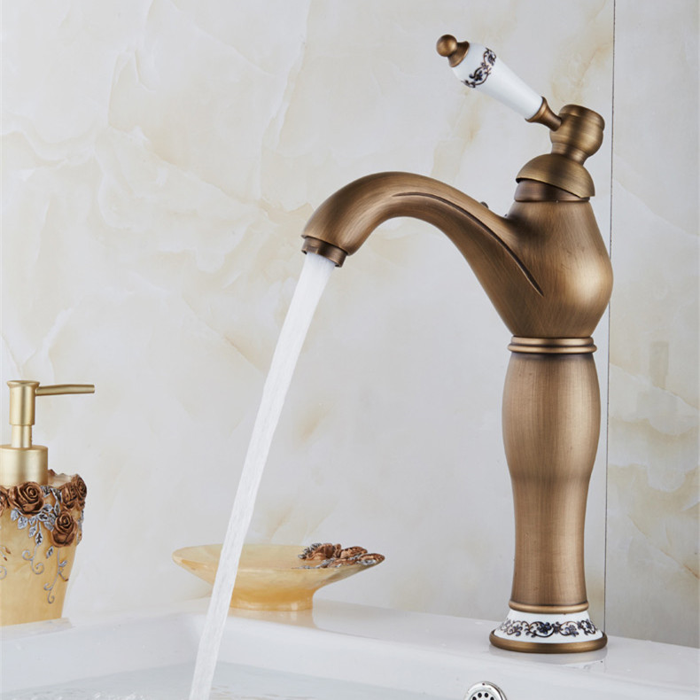 ФОТО Free shipping luxury antique bathroom faucet,hot and cold basin taps,classic brass bathroom vessel mixer faucet PFY16017F
