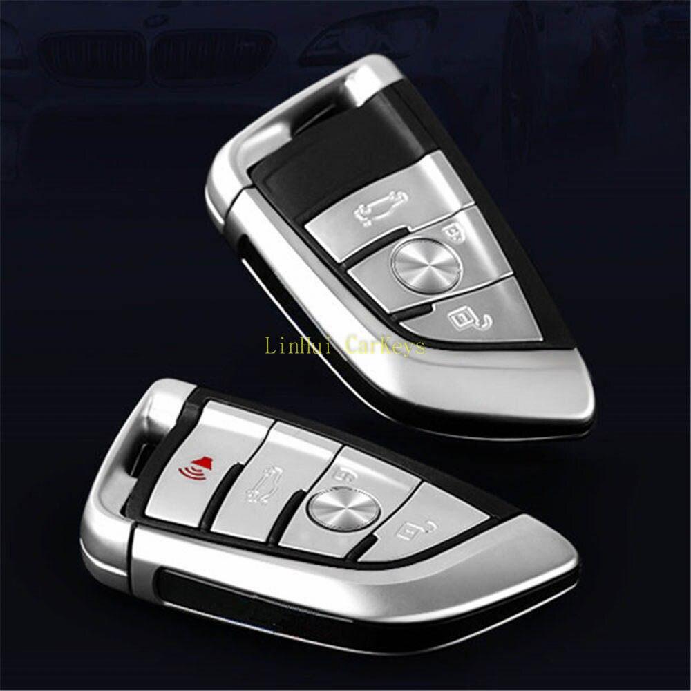 POMME DE PIN Clé Cas pour BMW 1 2 7 Série X1 X5 X6 X5M X6M Clé De Voiture À Distance Smart Key Shell Couverture 3/4 Boutons Avec Lame Non Coupée 1 PC