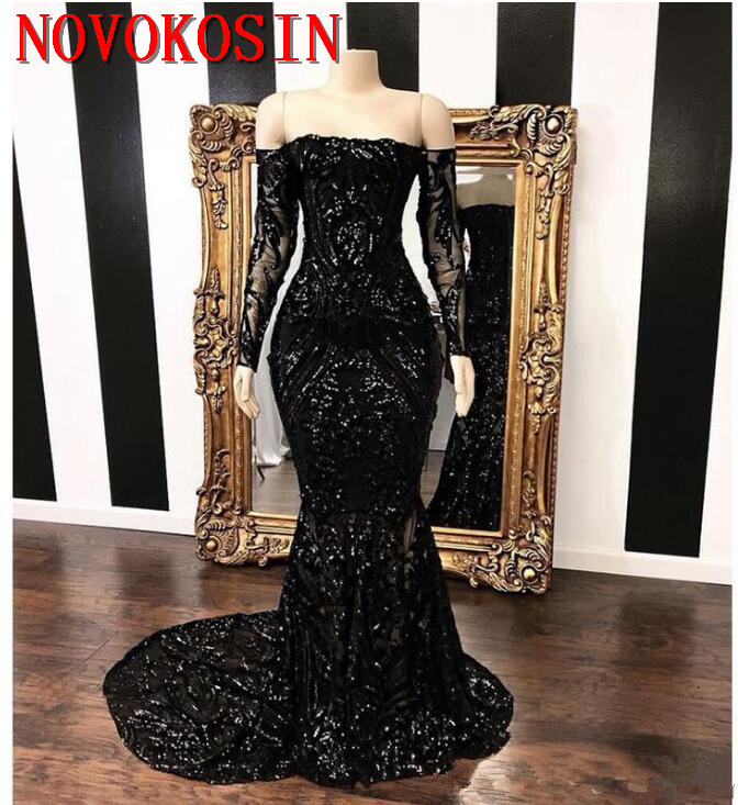 Vestidos Off The Shoulder Mermaid Prom Dresses 2019 New Black Long Sleeve Sweep Strain Sequined Formal Evening Dress Party Gowns in Evening Dresses from Weddings Events