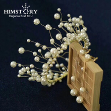 Himstory Sweet Circle Round Pearl Hair Crowns Bridal Princess Pageant Engagement Wedding Accessories