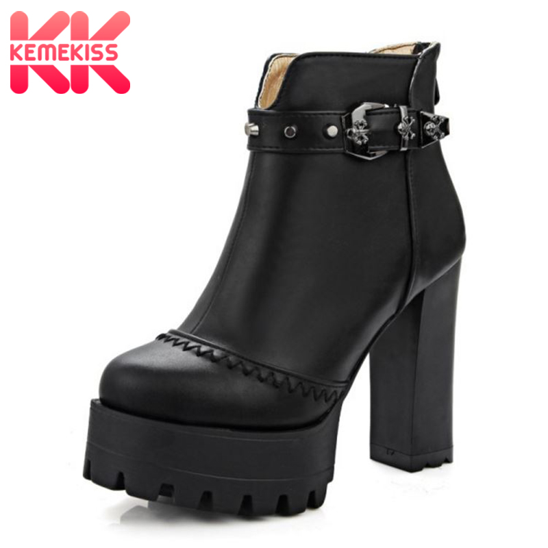 KemeKiss Women Ankle Boots Plush Fur Warm Shoes Women High Heel Zipper Boots Fashion Buckle Platform Shoes Footwear Size 32-43 kemekiss women slippers clip toe flat heel crystal shine women summer shoes fashion korean holidays footwear size 36 40