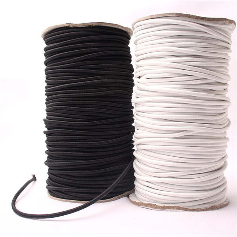 5 Meters* Strong Elastic Bungee Rope Black White Shock Cord Stretch String For Repair, Outdoors 4mm Elastic  SJD01