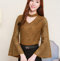Women 2017 Autumn Sexy V Neck Blouses Flare Sleeve Casual Hollow Out Lace Solid Long Sleeve