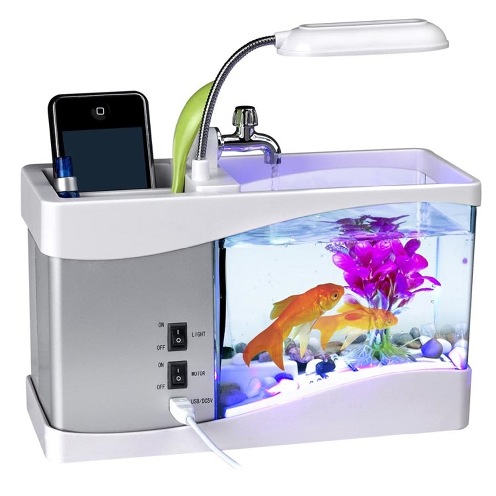 Usb mini aquarium fish tank with colorful light - New Arrival Home And Garden Mini Usb Lcd Desktop Lamp Light Fish Tank With Sounds Of