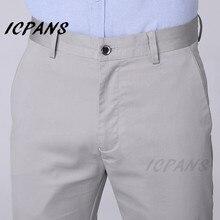 ICPANS размера плюс 42 44 46 мужской тонкий костюм брюки мужские летние классические Ice Silk Slim Fit деловые формальные брюки мужская одежда