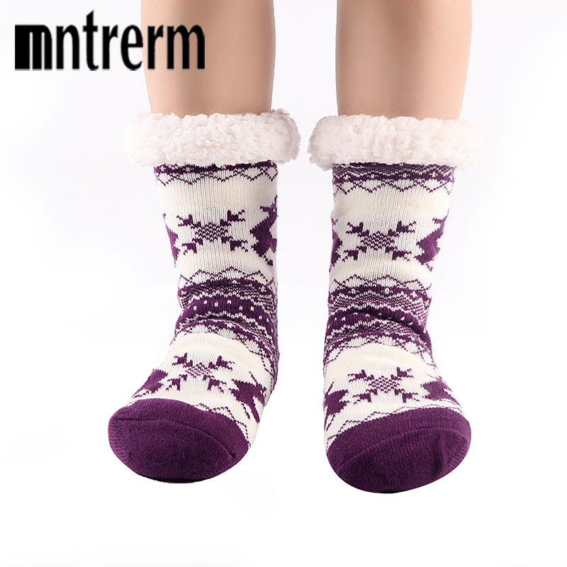 Mntrerm 2018 Style Keep Warm Floor Socks Cartoon Deer  Antiskid Winter Room Socks  High Quality Home Shoes As Christmas Gifts