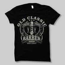 old classic barber shop vintage shave shaver knife dtg mens t shirt tees Fashion T-Shirts Summer Straight 100% Cotton Casual(China)