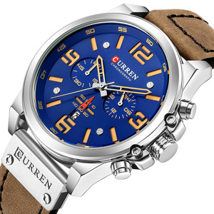 Image 2 - CURREN New Mens Watches Top Brand Men Military Sport Wristwatch Male Leather Chronograph Quartz Clock Relogio Masculino