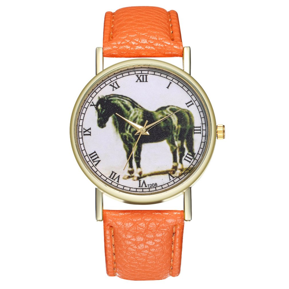 Lover's Quartz Watch Unique Horse Pattern Lovers Wrist Watch Trendy Leather Strap High-quality Brand New Women Watch 2019