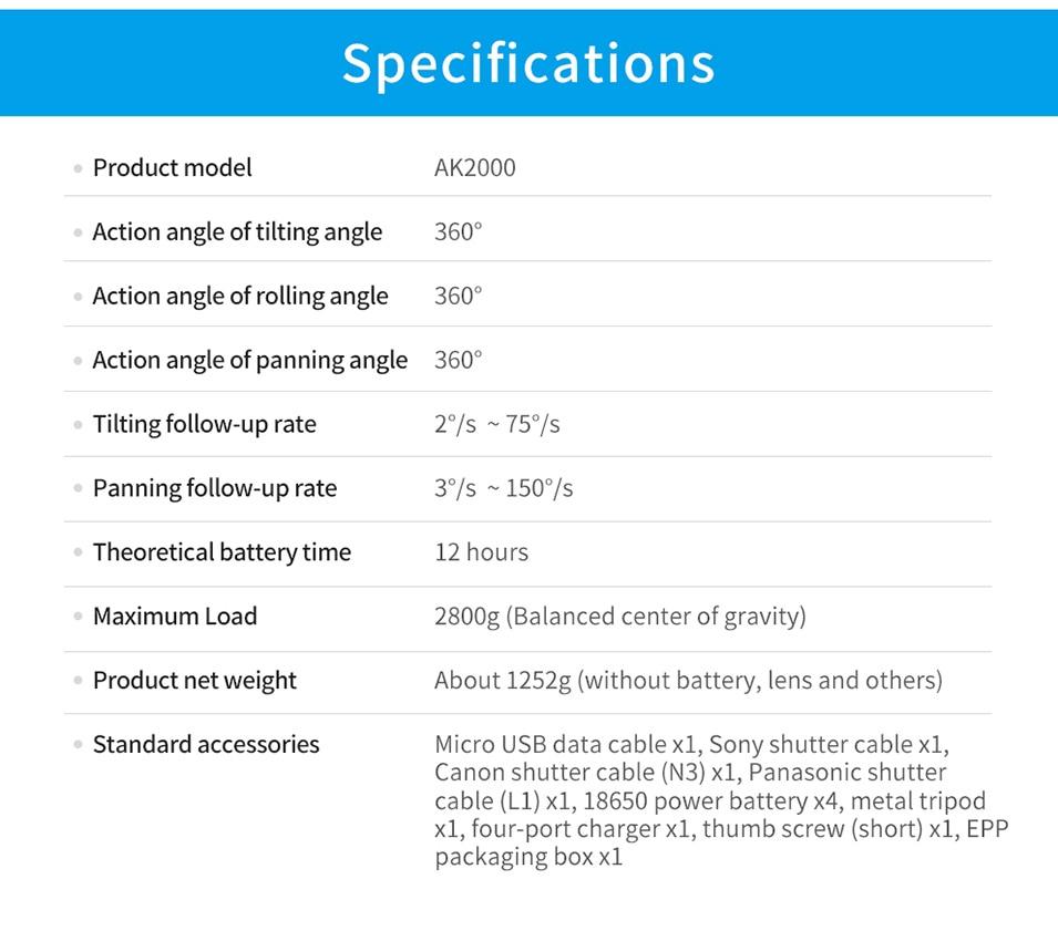 Feiyutech Feiyu AK4000 AK00 3-Axis DSLR Stabilizer Follow Focus Handhel Video Gimbal for Sony Canon Panasonic Nikon cameras 28