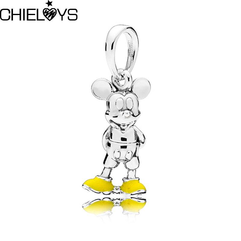 CHIELOYS 2pcs/lot Fits Original Pandora Charms Bracelets Silver Cartoon Mickey Beads Pendant for Making Berloque DIY Gift