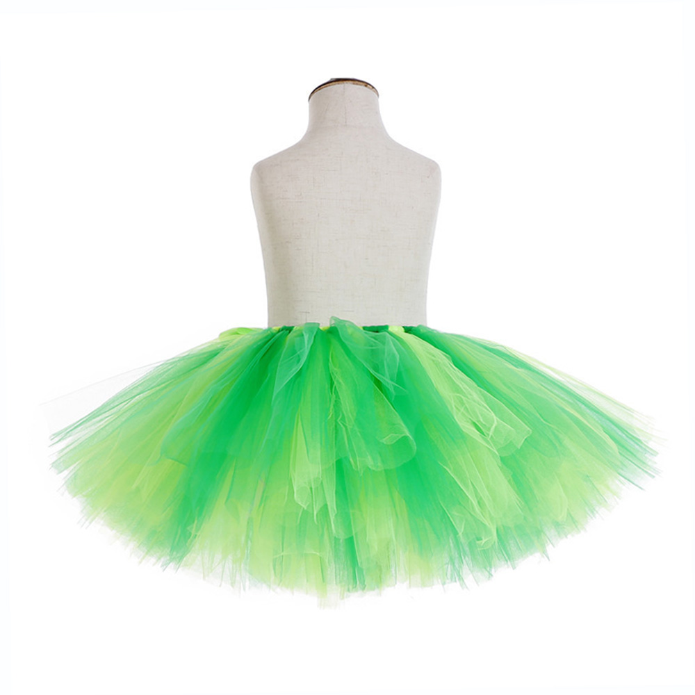 Rainbow Skirt Knee Length Nylon Mesh Tulle Skirt Kids Back to School Costume Happy Easter Party Tutu Skirt with Ribbon Bowknot (20)