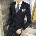 2017 de Inverno Dos Homens Mens Listrado Blazers Slim Fit Ternos Blazers para Homens Verticais Moda moda Formal 3 Peça Definir Casamento vestido