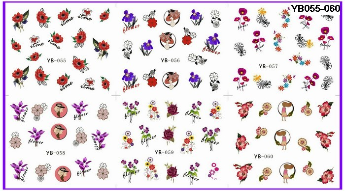 6 PACKS / LOT  NAIL ART WATER TRANSFERS STICKERS NAIL DECALS FLOWER YB055-060
