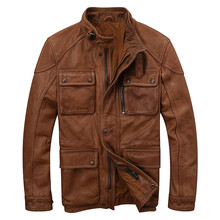 HARLEY DAMSON Brown Men Smart Casual Genuine Leather Jacket Plus Size 3XL Stand Collar Slim Fit