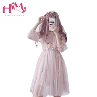 Lolita Women Kawaii Dress Butterfly Embroidery Cute Girl Summer Dresses Puff Sleeve Textural Floral Lace Hollow Out Fairy Dress