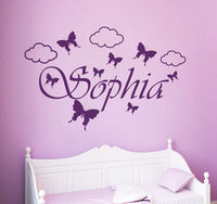 Personalized Custom Name Wall Decals Butterfly Girl Room Decor Art Stickers